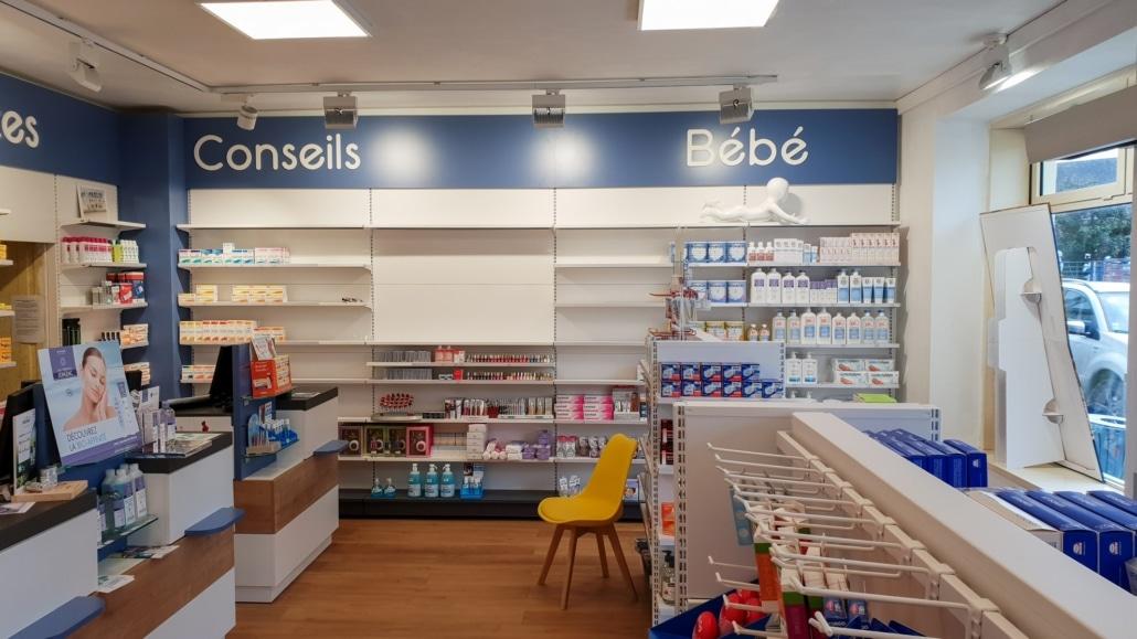 Agencement par Adeco Breizh de la pharmacie Le-Bono