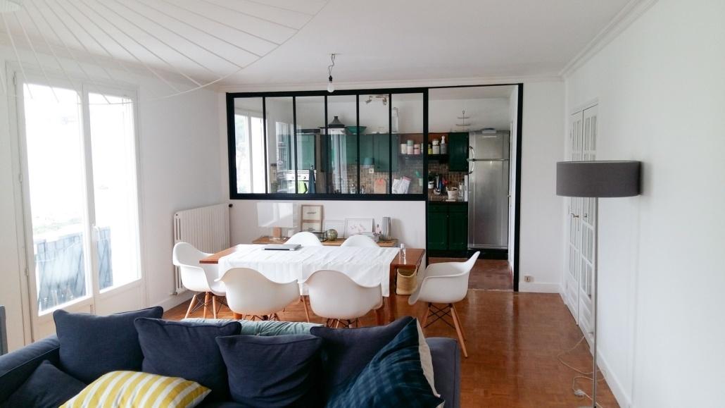 Travaux d'ouverture entre une cuisine et un salon